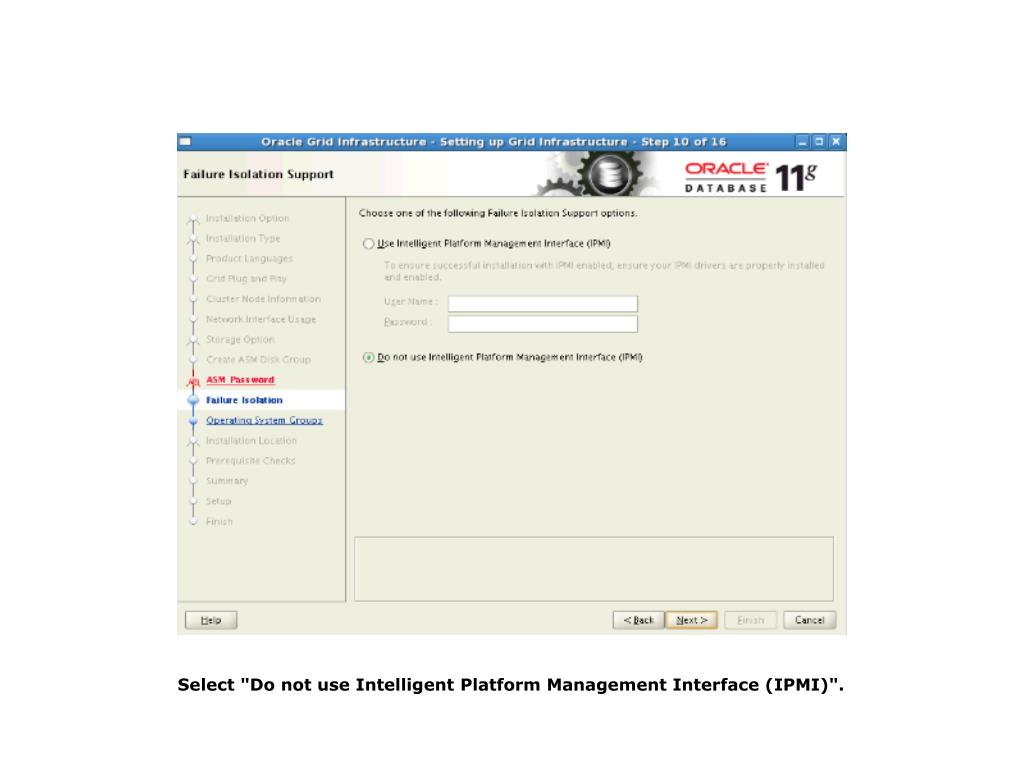 "Select ""Do not use Intelligent Platform Management Interface (IPMI)""."