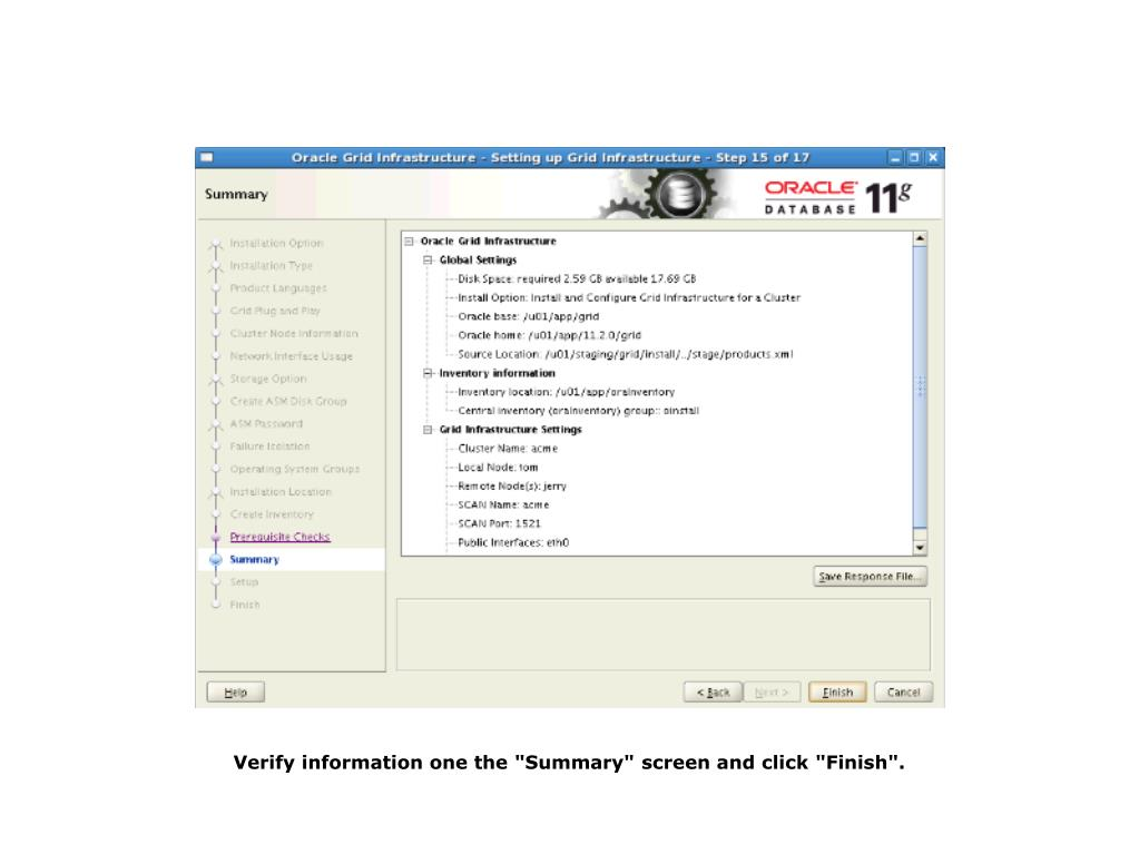 "Verify information one the ""Summary"" screen and click ""Finish""."