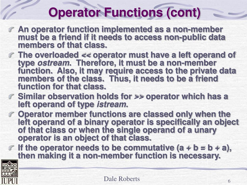 Operator Functions (cont)