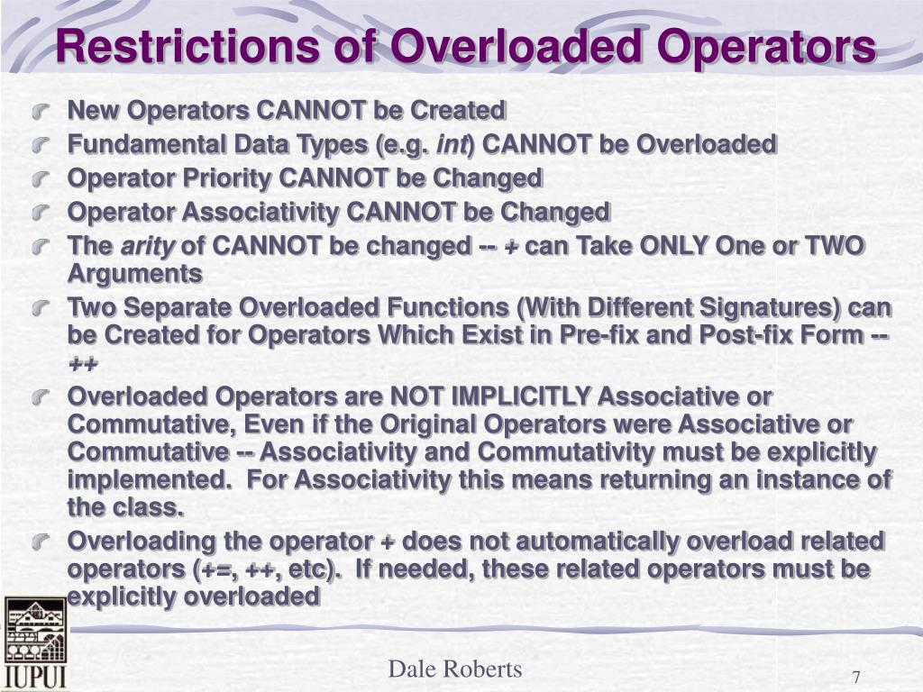 Restrictions of Overloaded Operators