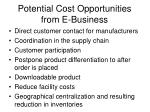 potential cost opportunities from e business