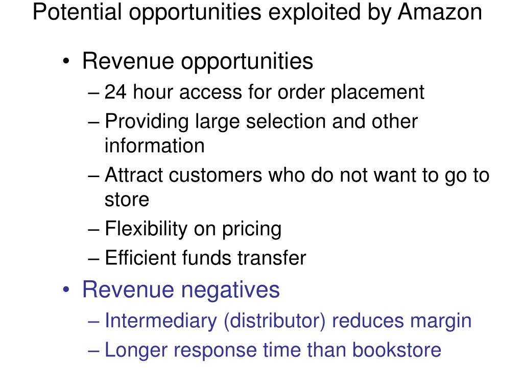 Potential opportunities exploited by Amazon