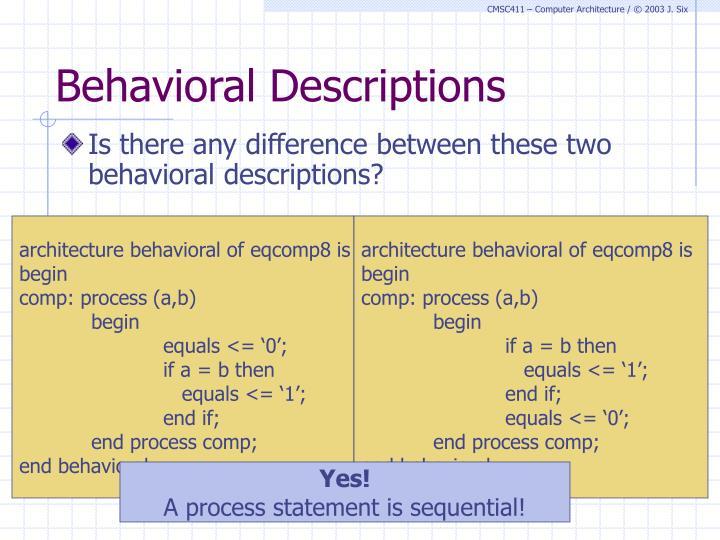 Behavioral Descriptions