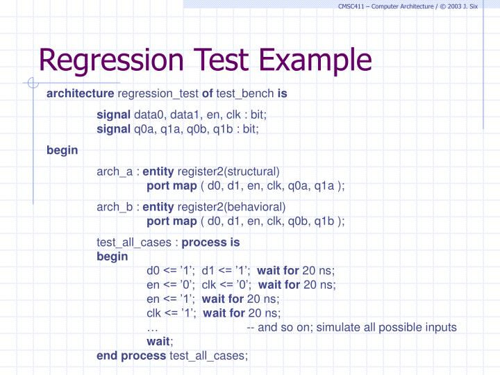 Regression Test Example