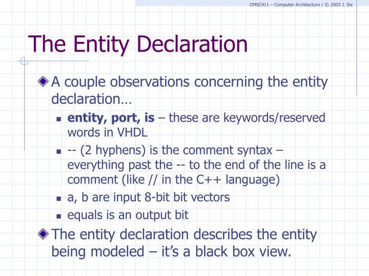 The Entity Declaration