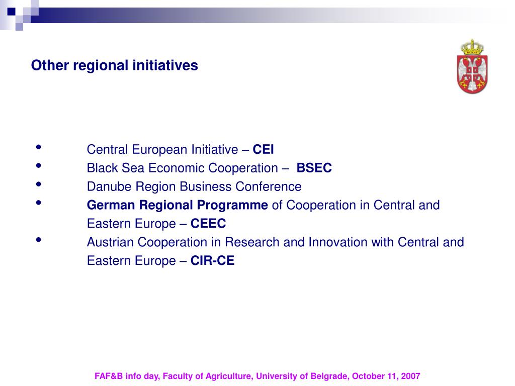 Other regional initiatives