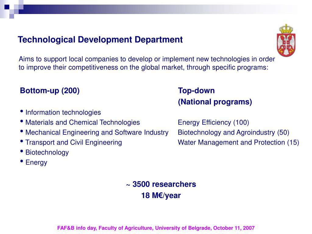 Technological Development Department
