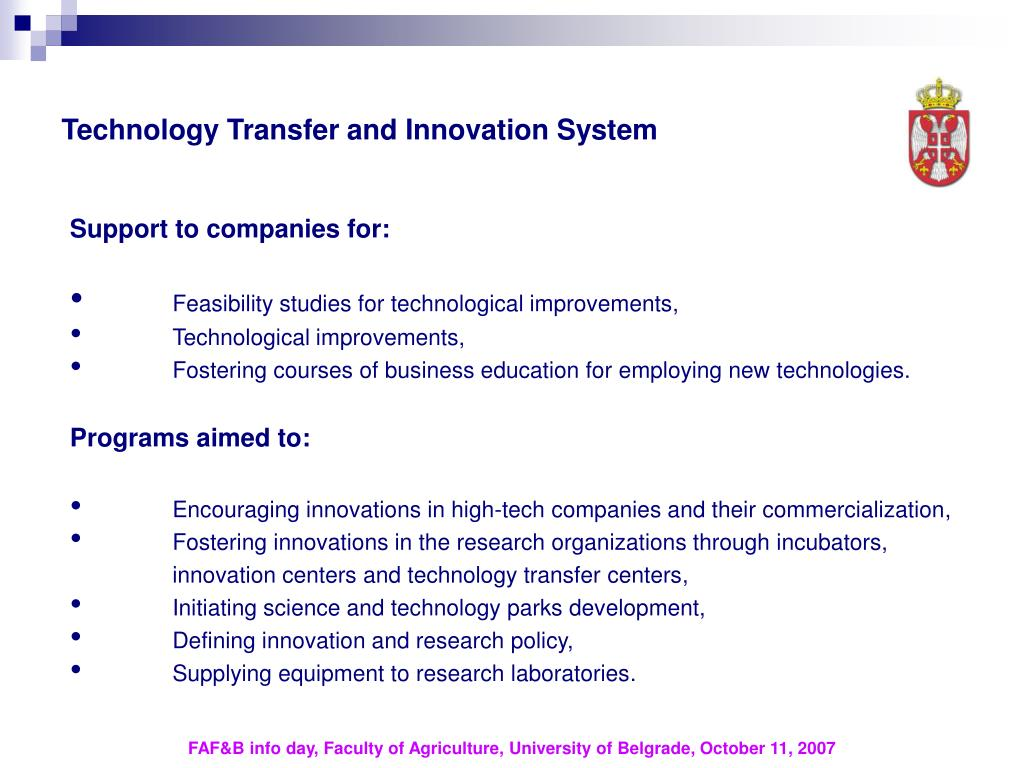 Technology Transfer and Innovation System