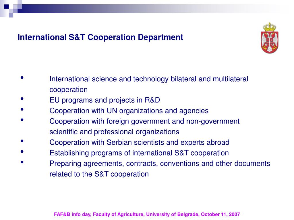 International S&T Cooperation Department
