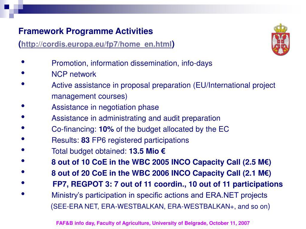 Framework Programme Activities (