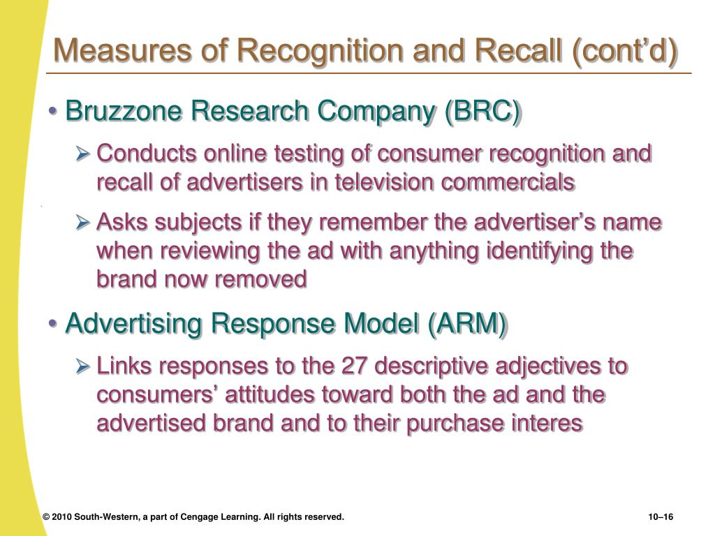 Measures of Recognition and Recall (cont'd)