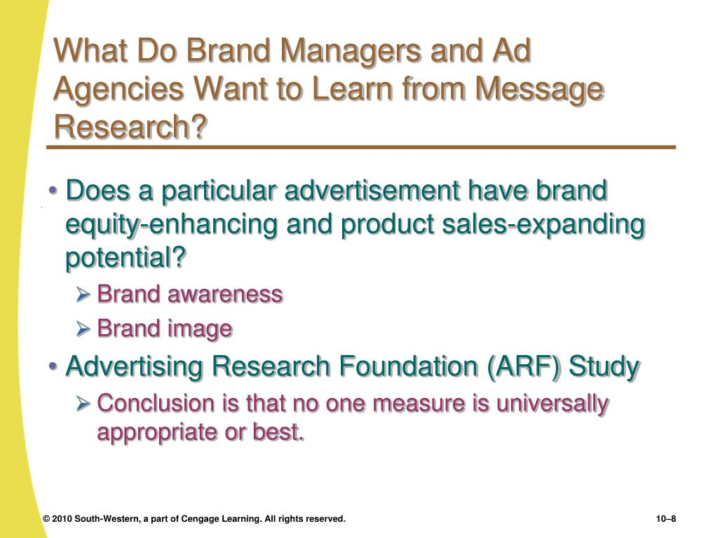What Do Brand Managers and Ad Agencies Want to Learn from Message Research?