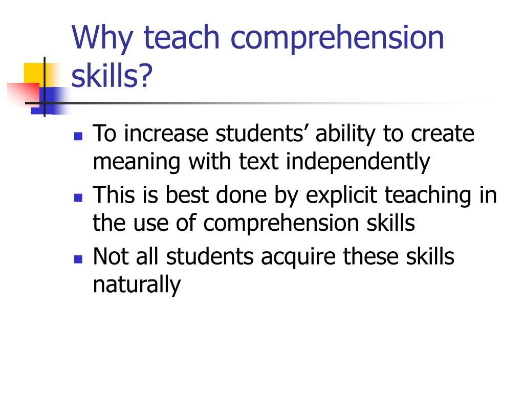 Ppt - Teaching Comprehension Skills Powerpoint Presentation