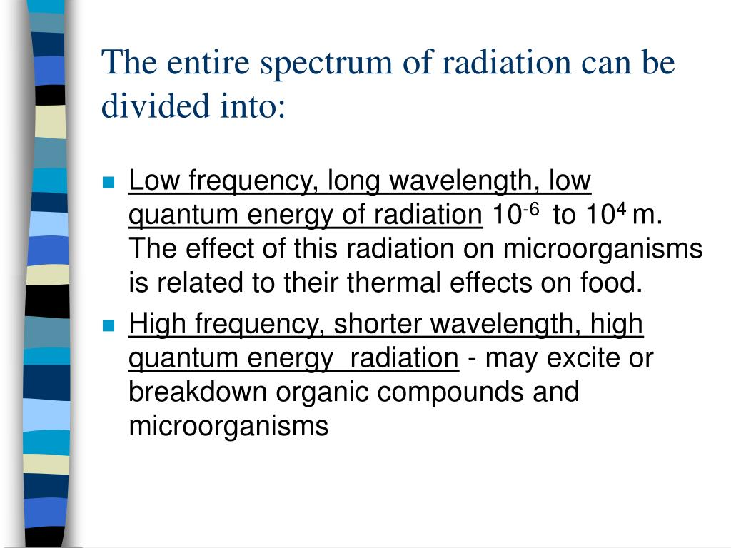 The entire spectrum of radiation can be divided into: