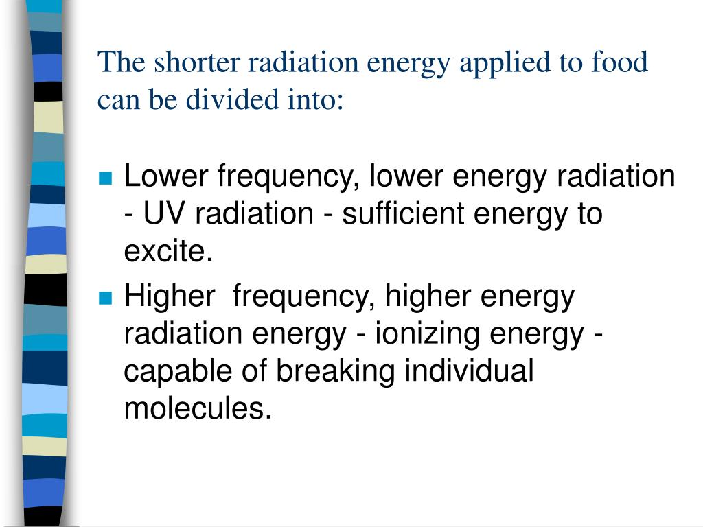 The shorter radiation energy applied to food can be divided into:
