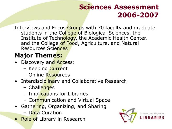 Sciences assessment 2006 2007
