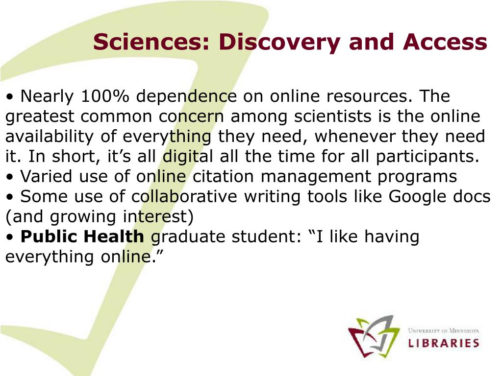 Sciences: Discovery and Access