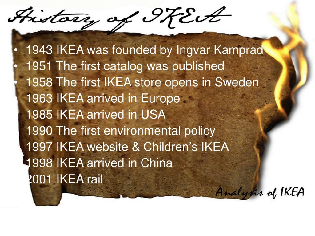 1943 IKEA was founded by Ingvar Kamprad
