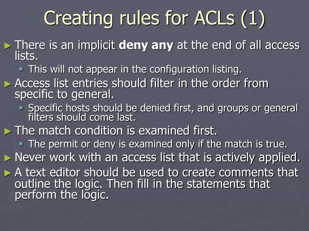 Creating rules for ACLs (1)