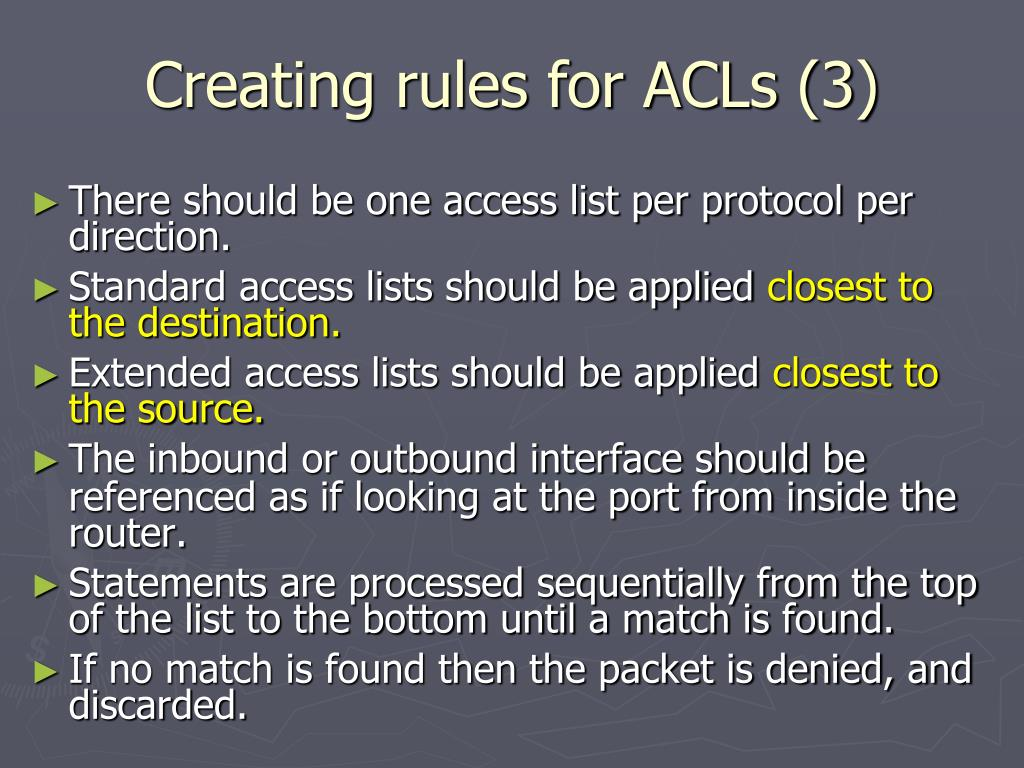 Creating rules for ACLs (3)