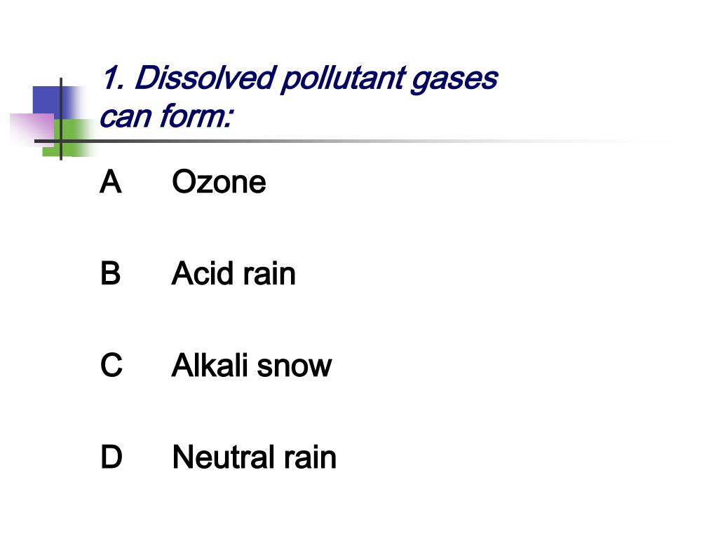 1. Dissolved pollutant gases can form:
