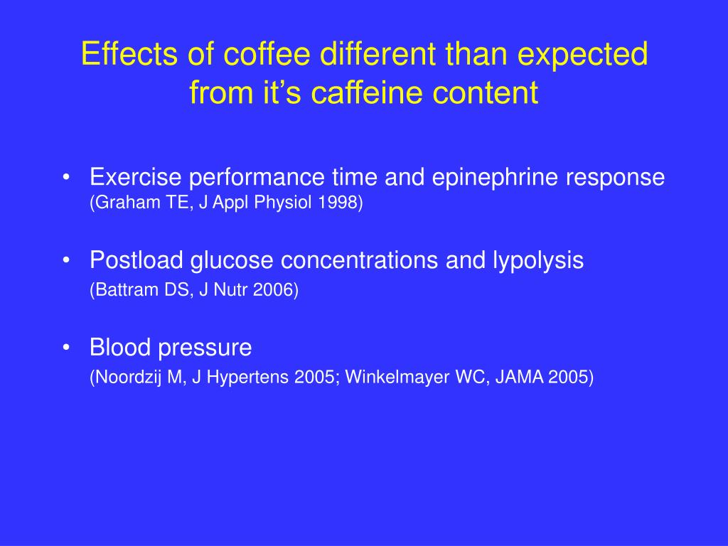 Effects of coffee different than expected from it's caffeine content