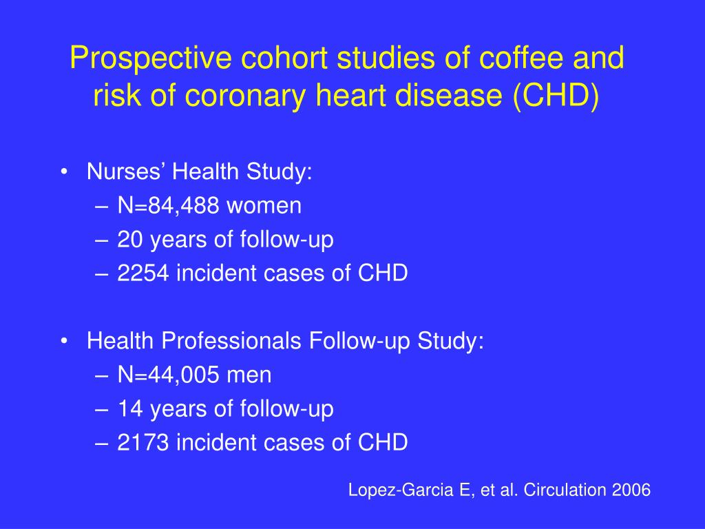 Prospective cohort studies of coffee and risk of coronary heart disease (CHD)