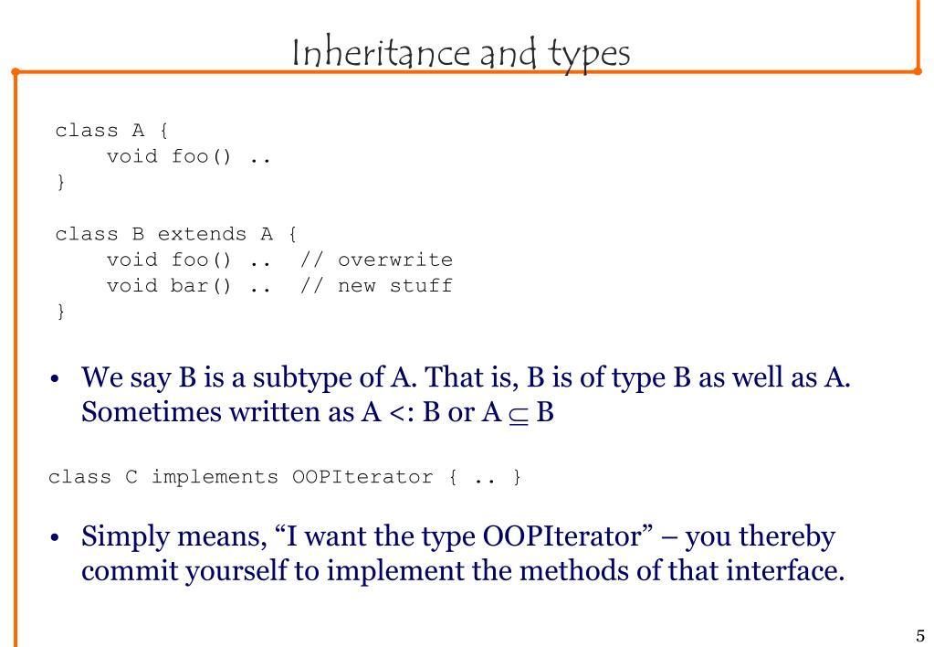 Inheritance and types