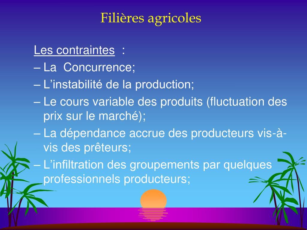 Filières agricoles