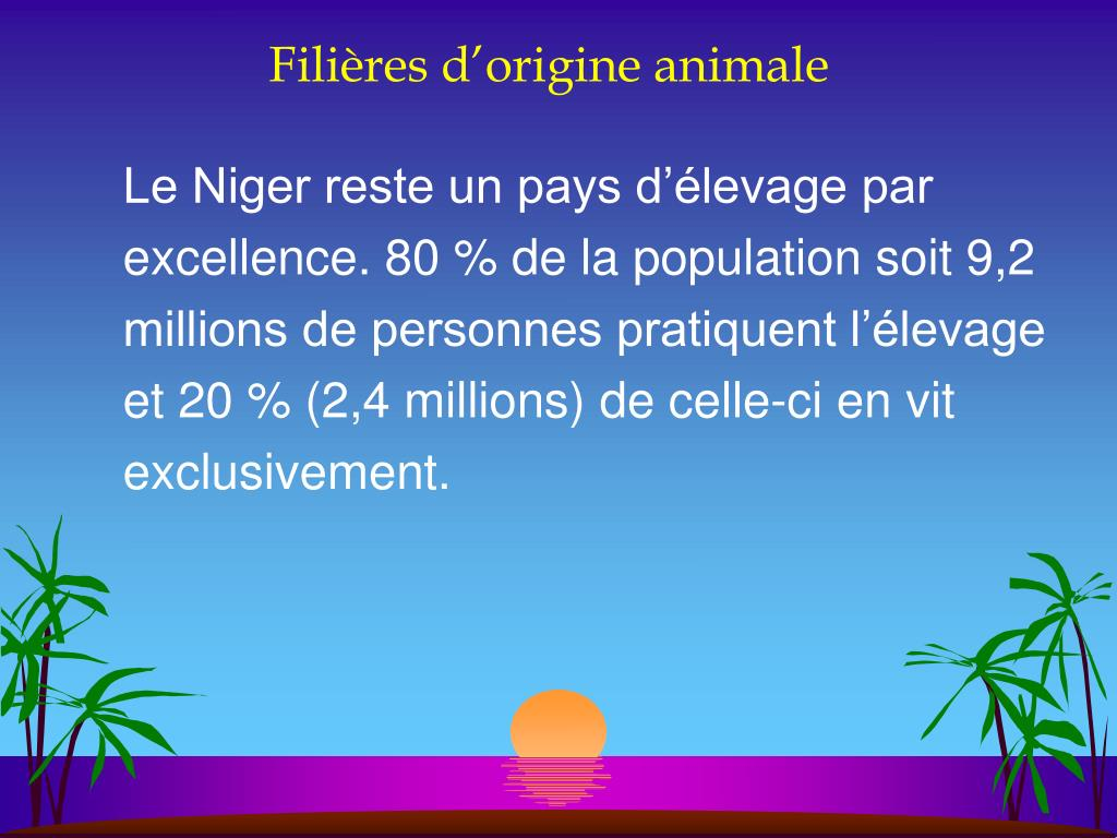 Filières d'origine animale