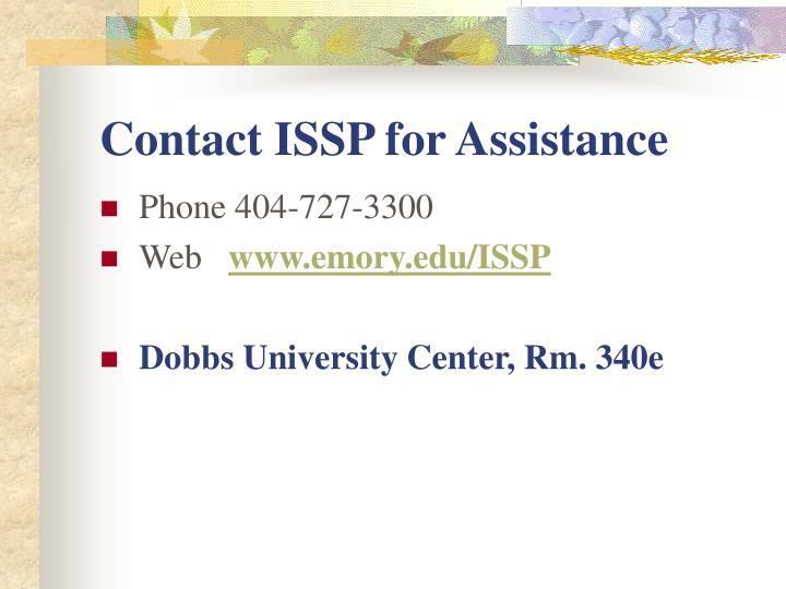 Contact ISSP for Assistance