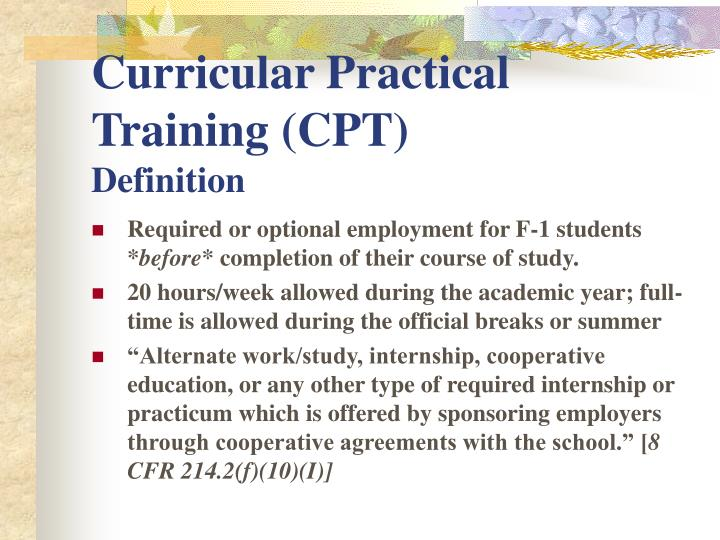 Curricular practical training cpt definition