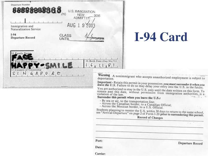 I-94 Card