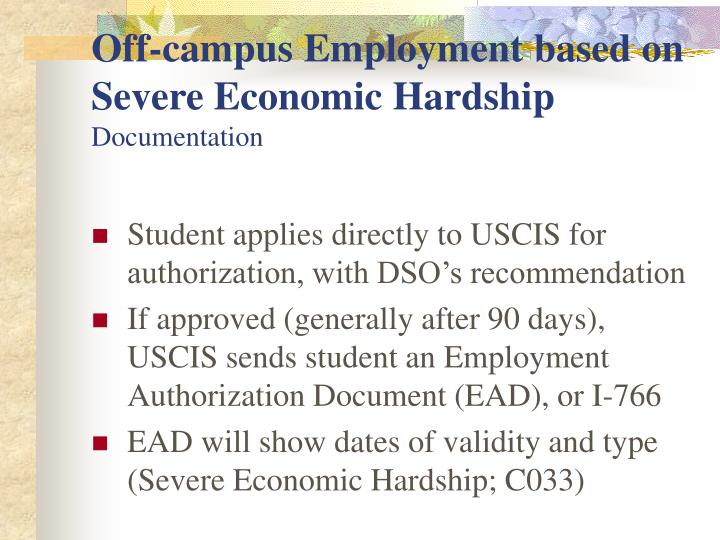 Off-campus Employment based on Severe Economic Hardship