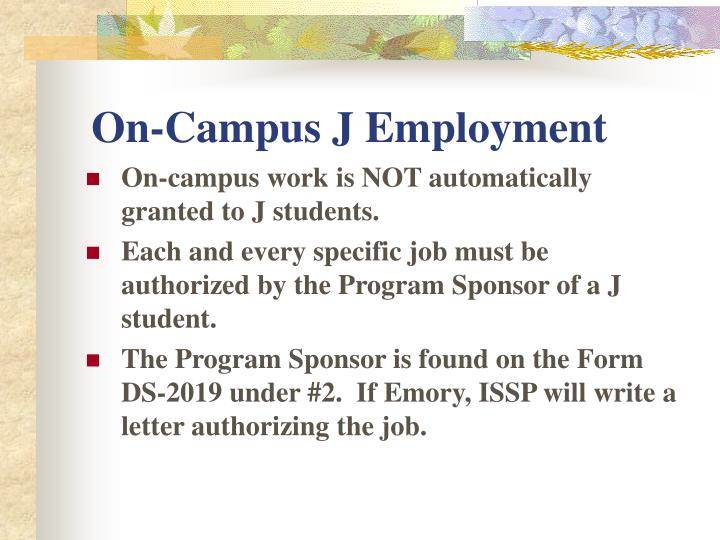 On-Campus J Employment