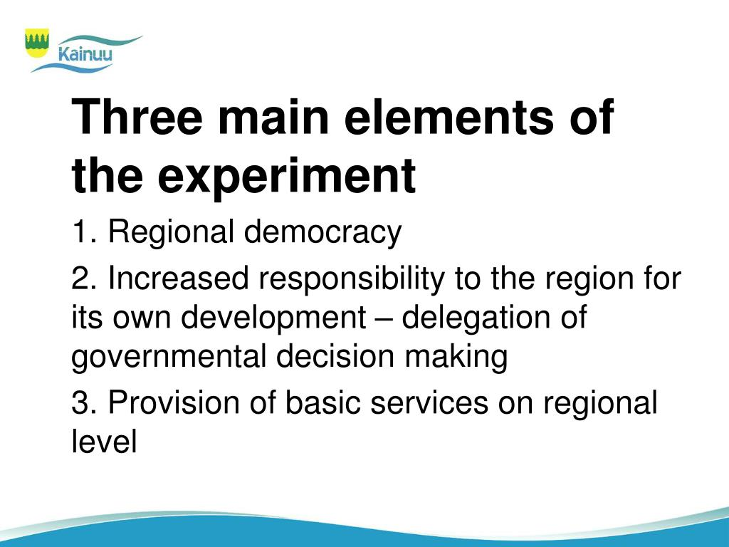Three main elements of the experiment