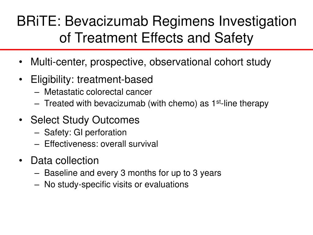 BRiTE: Bevacizumab Regimens Investigation