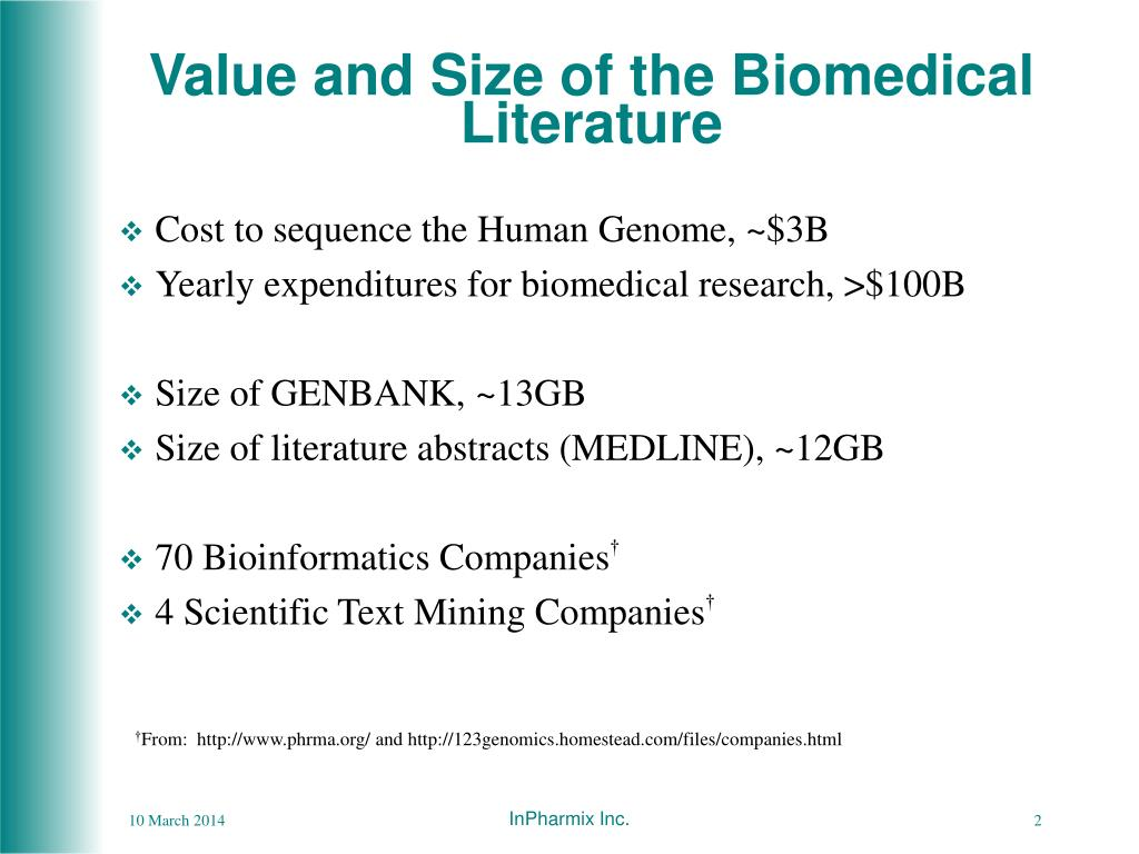 Value and Size of the Biomedical Literature