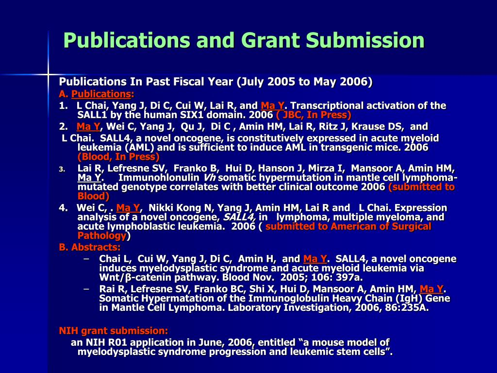 Publications and Grant Submission