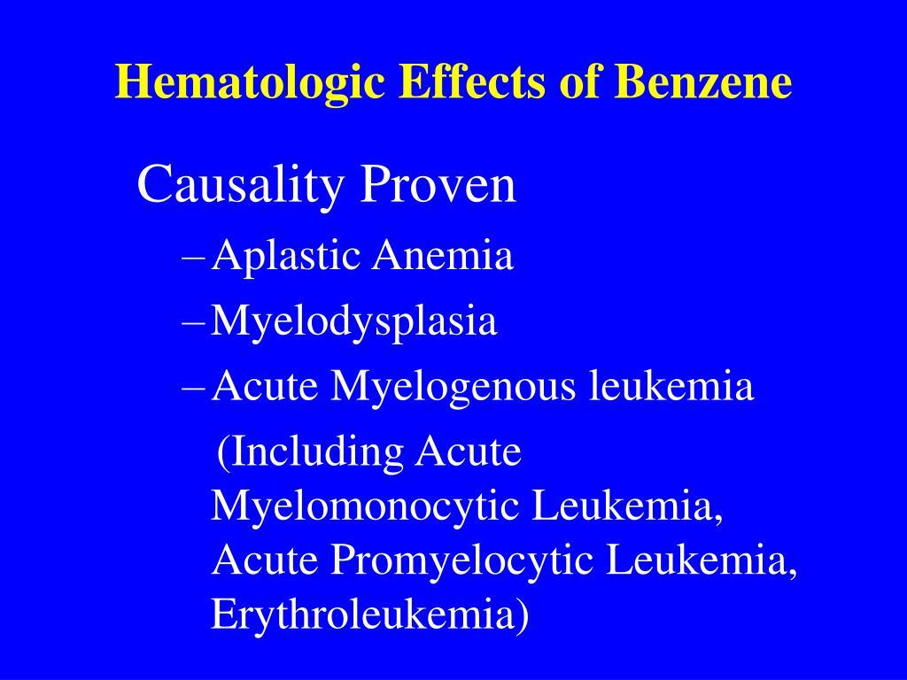 Hematologic Effects of Benzene