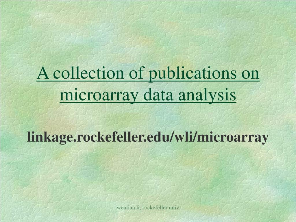 A collection of publications on microarray data analysis