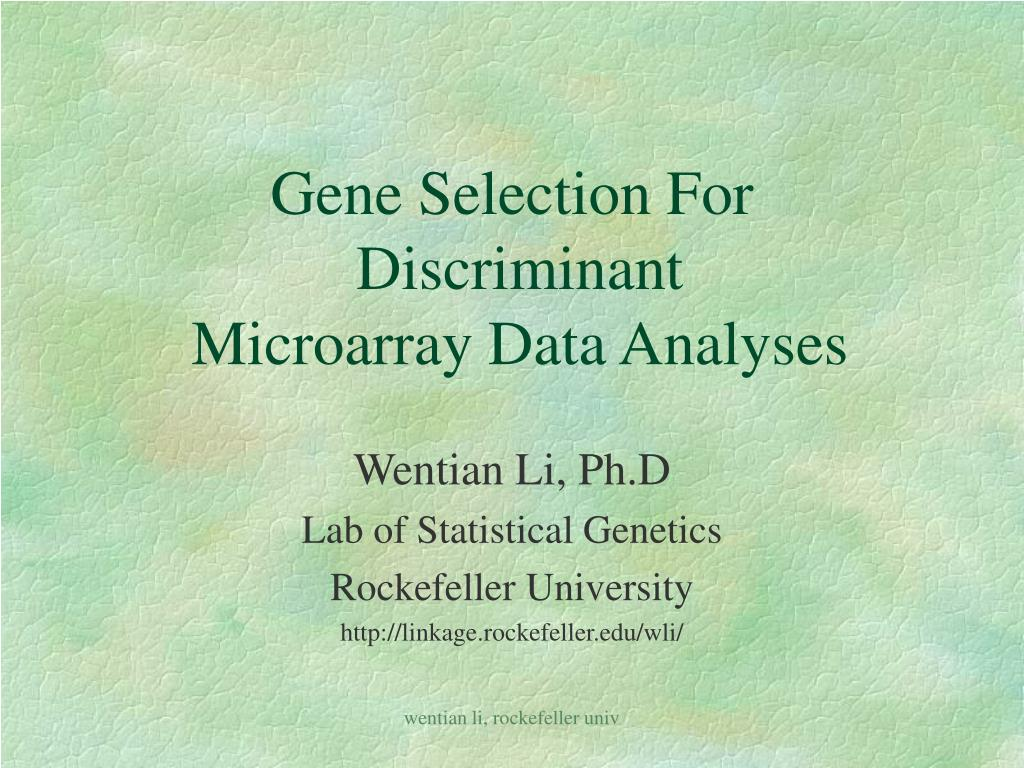 gene selection for discriminant microarray data analyses
