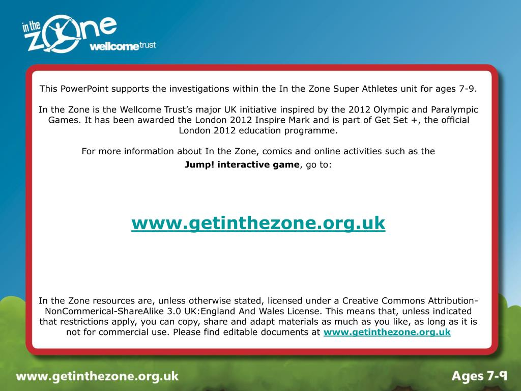 This PowerPoint supports the investigations within the In the Zone Super Athletes unit for ages 7-9.