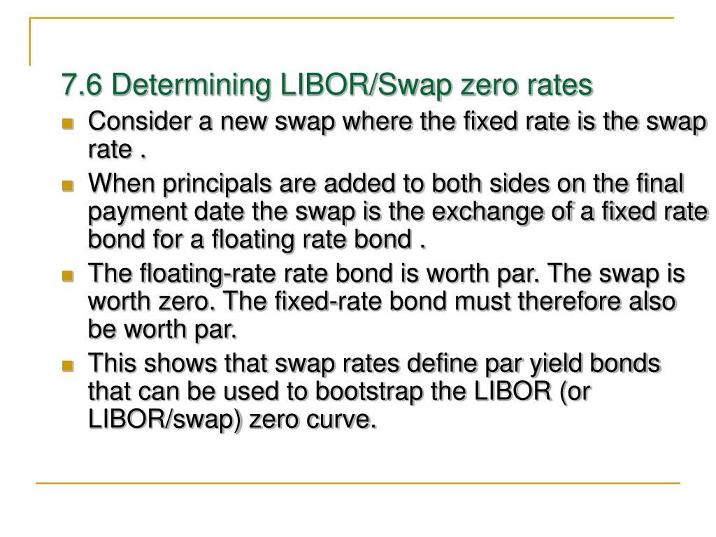 7.6 Determining LIBOR/Swap zero rates