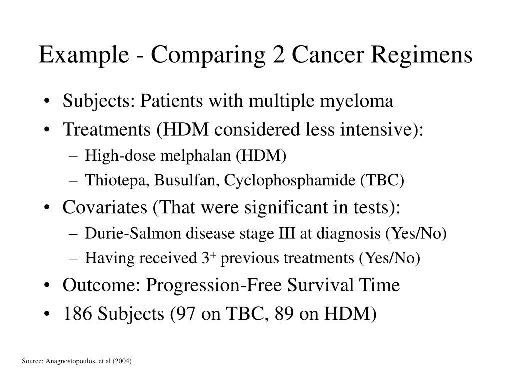 Example - Comparing 2 Cancer Regimens