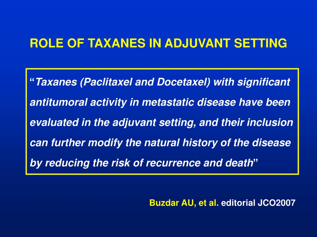ROLE OF TAXANES IN ADJUVANT SETTING