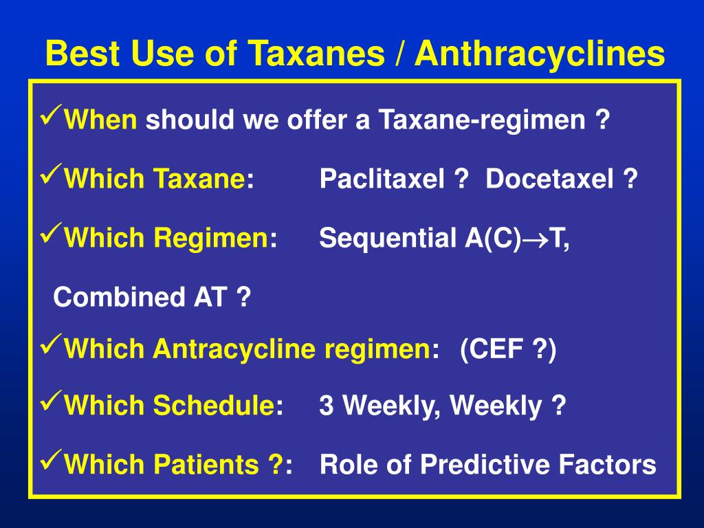 Best Use of Taxanes / Anthracyclines