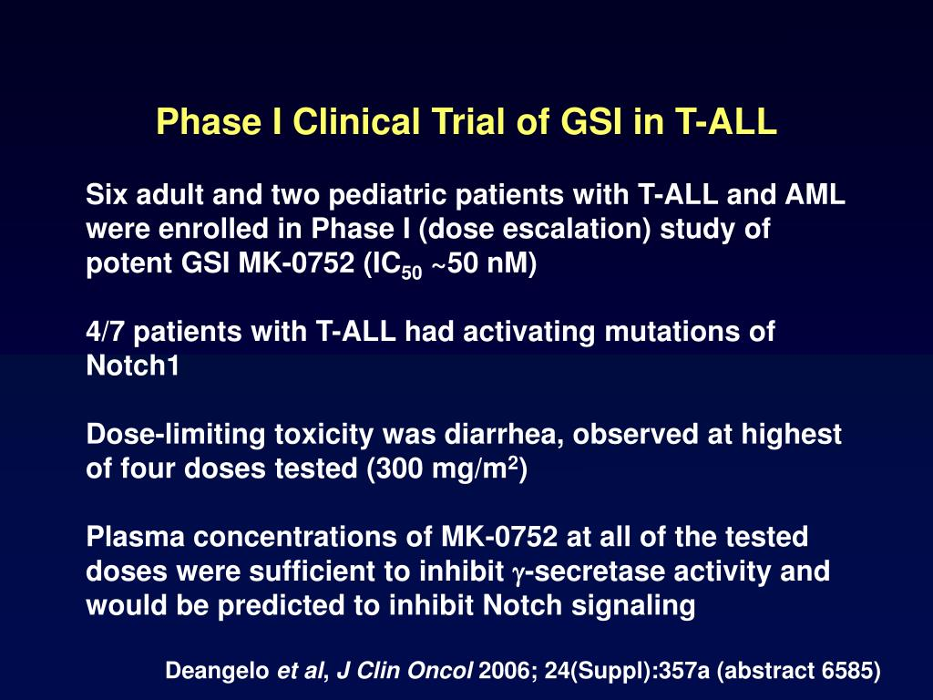 Phase I Clinical Trial of GSI in T-ALL