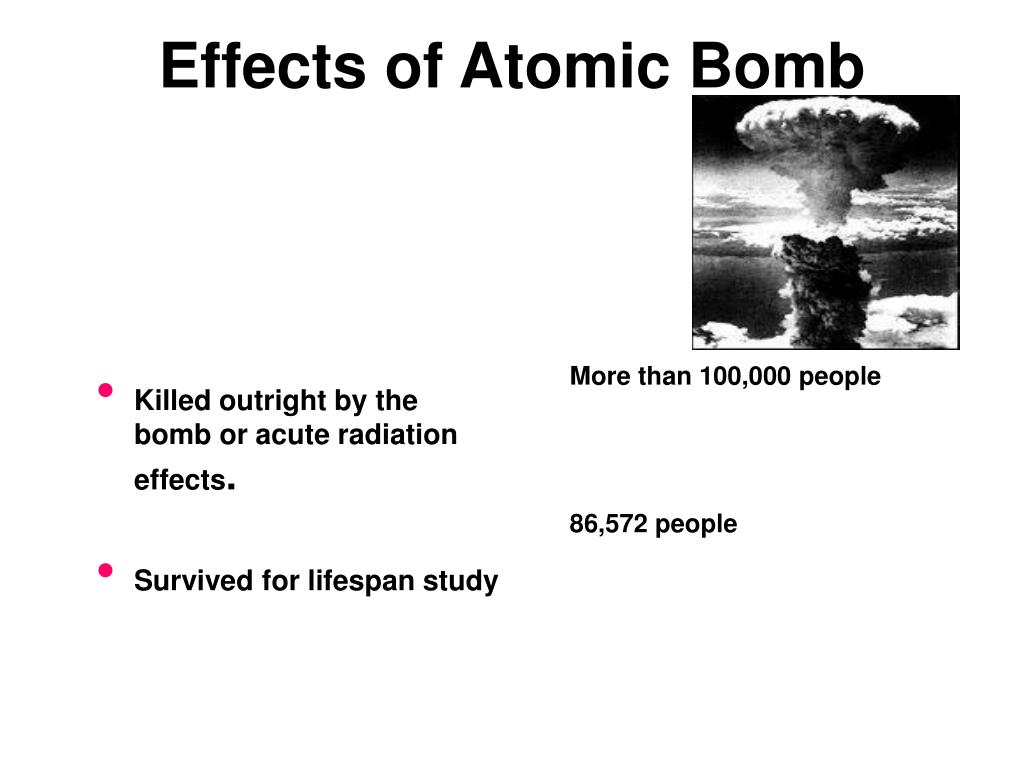 Killed outright by the bomb or acute radiation effects