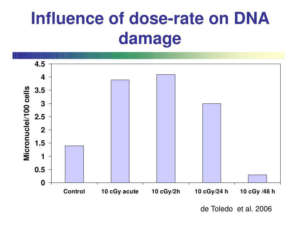 Influence of dose-rate on DNA damage
